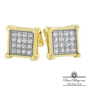 18k Gold Plated 32 Stone Box Earrings